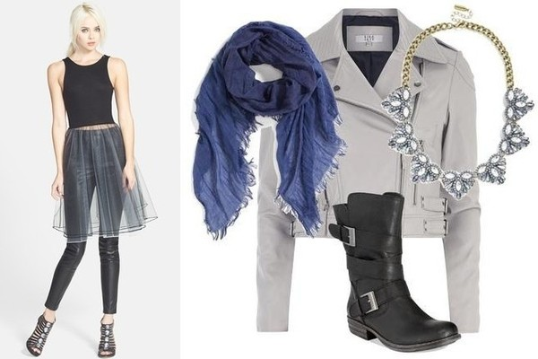 Madison & Berkeley Frills & Thrills Tutu Tank in Black, $46, at Nordstrom; Hinge Chambray Scarf in Blue Twilight, $32, at Nordstrom; Lola Skye Grey Leather Jacket, $135, at Dorothy Perkins; BaubleBar Pavé Partridge Collar in Blue, $58, at BaubleBar; American Rag Cale Strapped Moto Booties in Black, $79, at Macy's
