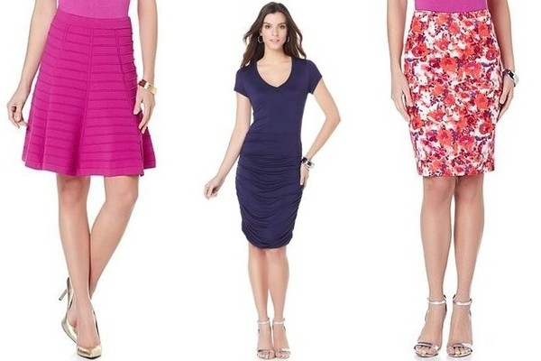 Wendy Williams Magenta A-Line Skirt, $60; Navy Side Ruched Dress, $30; Floral Print Pencil Skirt, $50, at HSN