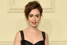 Look of the Day: Lily Collins' Leather Skirt