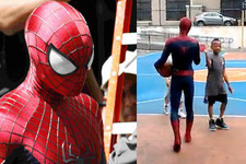 Andrew Garfield Possibly Spotted Shooting Hoops in Full Spider-Man Costume