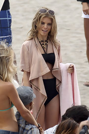 AnnaLynne McCord wore an embellished bikini with cover-up while filming '90210'.