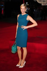 Posing at the London premiere of 'Anna Karenina,' Jenni Falconer showed off her trim figure in this chic belted blue shift dress.