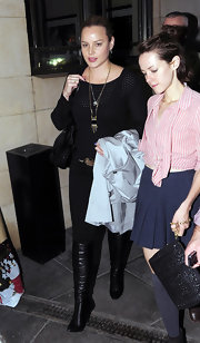 Abbie Cornish dined out in Soho wearing a pair of black leather knee high boots.