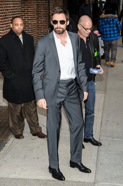 Hugh Jackman chose a gray suit for a modern and snazzy look while appearing on 'The Late Show with David Letterman.'