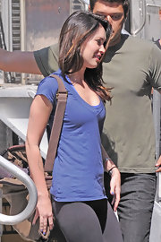Megan Fox kept comfy in a cornflower blue v-neck tee on the set of 'The Dictator.'