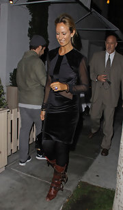 Lady Victoria Hervey arrived at Fig and Olive restaurant in Hollywood wearing a pair of distressed brown leather boots featuring lots of straps and buckles.