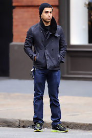 Wilmer Valderrama was caught on camera wearing a double-breasted denim jacket while out in New York.