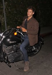 Keegan Allen was spotted out at Chateau Marmont wearing a nice motorcycle jacket.