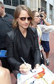 Jodie Foster shielded her eyes in a pair of aviator sunglasses while en route to Comic Con San Diego.