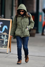 Ellen Page is known for her hipster style like this green army-like jacket.