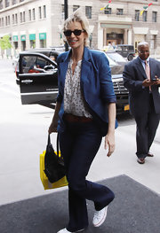Jane paired a navy blazer over a polka-dotted blouse for a fun mix of masculine and feminine styles.