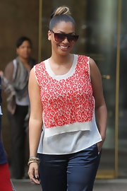 La La Anthony took a stroll around New York City wearing a pair of square sunnies.