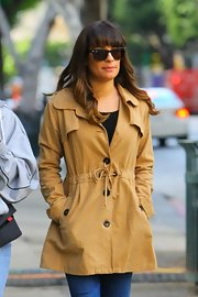 Lea donned this modified button-down trench for her outing in NYC. These were perfect for a blue jean day.