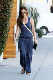 Minka loves cozy maxi-dresses like this slate blue knit one.
