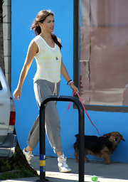 Adriana Lima opted for a white and yellow t-shirt for her casual daytime look while on a Victoria's Secret photo shoot.