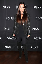 Kyle Richards attended a 'Real Housewives of Beverly Hills' event wearing a pair or black suede over-the-knee boots.