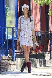 Alessandra posed for the VSecret shoot in a chic and simple windowpane shirtdress.