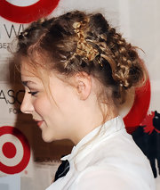 Chloe Moretz wore her hair in a mass of small bobby-pinned braids at the launch of Jason Wu for Target.