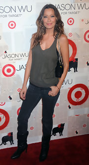 Sky Nellor kept her launch look relaxed in an olive tank and skinny jeans.