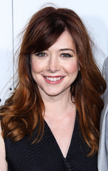 Alyson Hannigan Long Wavy Cut with Bangs