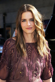 Amanda Peet looked ultra-casual wearing her hair in messy waves for an appearance on the 'Late Show With David Letterman.'
