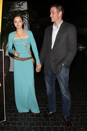 Devon wore a lovely sky-blue dress for a dinner date with her fiance at Chateau Marmont.