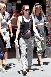 Amy Adams chose printed pants to show off her classic style while out in Taormina.