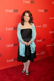 Michele Bachmann donned a pair of black satin sandals over ivory hose at the 'Time' 100 Gala.