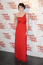 Vanessa Glodjo wore this single-strap red chiffon dress to the Paris premiere of 'In the Land of Blood and Honey.'
