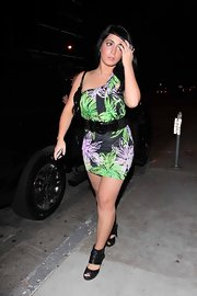 Angelina Pivarnick completed her party ensemble with a pair of black peep-toes featuring wide ankle straps.