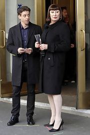Anjelica Huston looked classic and sophisticated as ever in a wool coat while filming 'Smash' in NYC.