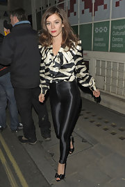"Anna Friel channeled ""Bad Sandy"" a la 'Grease' in these super-tight high-waisted shiny pants."