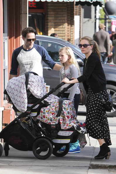 New mom Anna Paquin was street ready in a black and white polka dot skirt.