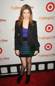 Anna Kendrick smartened up her shirt and mini combo with a structured black blazer when she attended the 'Falling for You' premiere.
