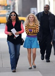 Annasophia Robb's printed slippers were a zany finish to her colorful mixed prints.