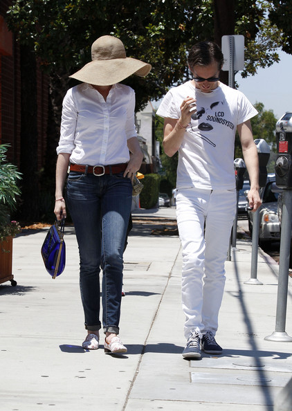 Anne Hathaway Shops for Records with Her Husband