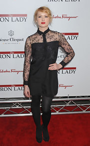 Kaylee Defer wore a lacy LBD with a prim collar to the 'Iron Lady' premiere.