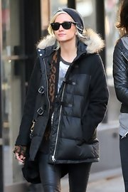 Ashlee Simpson chose a pair of black shades for a walk in New York City.