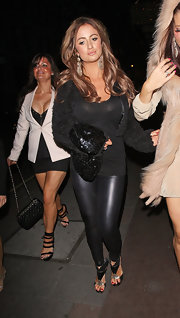 Chantelle Houghton works the leather leggings look with an architectural, gladiator-style sandal.