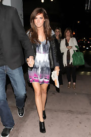 "Ashley wore the printed ""Summer Lovin' Dress"" with a black leather jacket for a night out with her beau. Bright printed dresses are a fabulous Spring trend."
