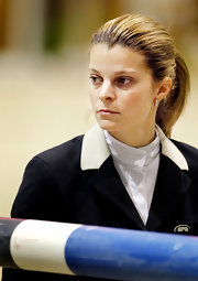 Athina Onassis De Miranda kept her hair neat and simple in a ponytail.