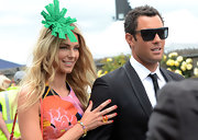 Jennifer Hawkins accented an already-bold color palette with a pop of sparkling orange nail polish when she attended the Melbourne Cup Horse Races in Melbourne, Australia.