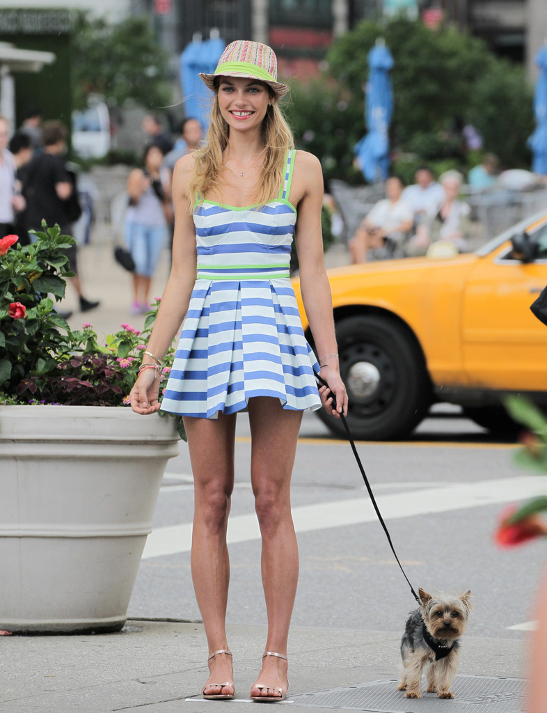 Australian model Jessica Hart shows off a variety of fashions during a photo shoot in New York City. The 27-year-old Aussie flashed her gap tooth smile and even brought her dog to the shoot.