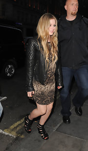 Avril Lavigne's quilted leather jacket gave her a super rocking edgy look.