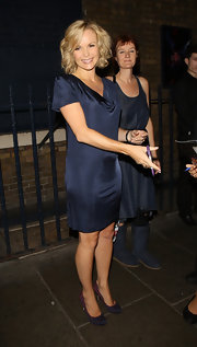Amanda Holden paired her simple dress with fun polka-dot pumps.