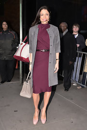 Bethenny wore a sleek gray evening coat over her maroon dress while out in New York.