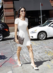 Bethenny Frankel left the Prada store in NYC wearing a crisp white dress and matching pumps.