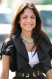 Bethenny Frankel added to her fresh-faced glow with a bit of shimmering pink lip gloss.