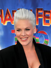 Pink wore her hair in a cool platinum pompadour at the premiere of 'Happy Feet.'