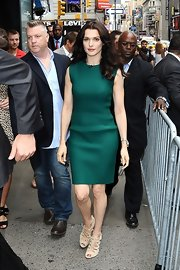 It doesn't get more perfect than this crisp emerald sheath dress Rachel wore en route to 'Good Morning America.'